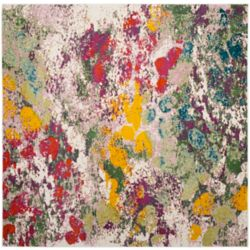 Safavieh Watercolour Javale Light Green / Rose 6 ft. 7-inch x 6 ft. 7-inch Indoor Square Area Rug