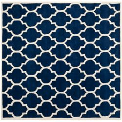 Safavieh Chatham Candace Dark Blue / Ivory 7 ft. x 7 ft. Indoor Square Area Rug