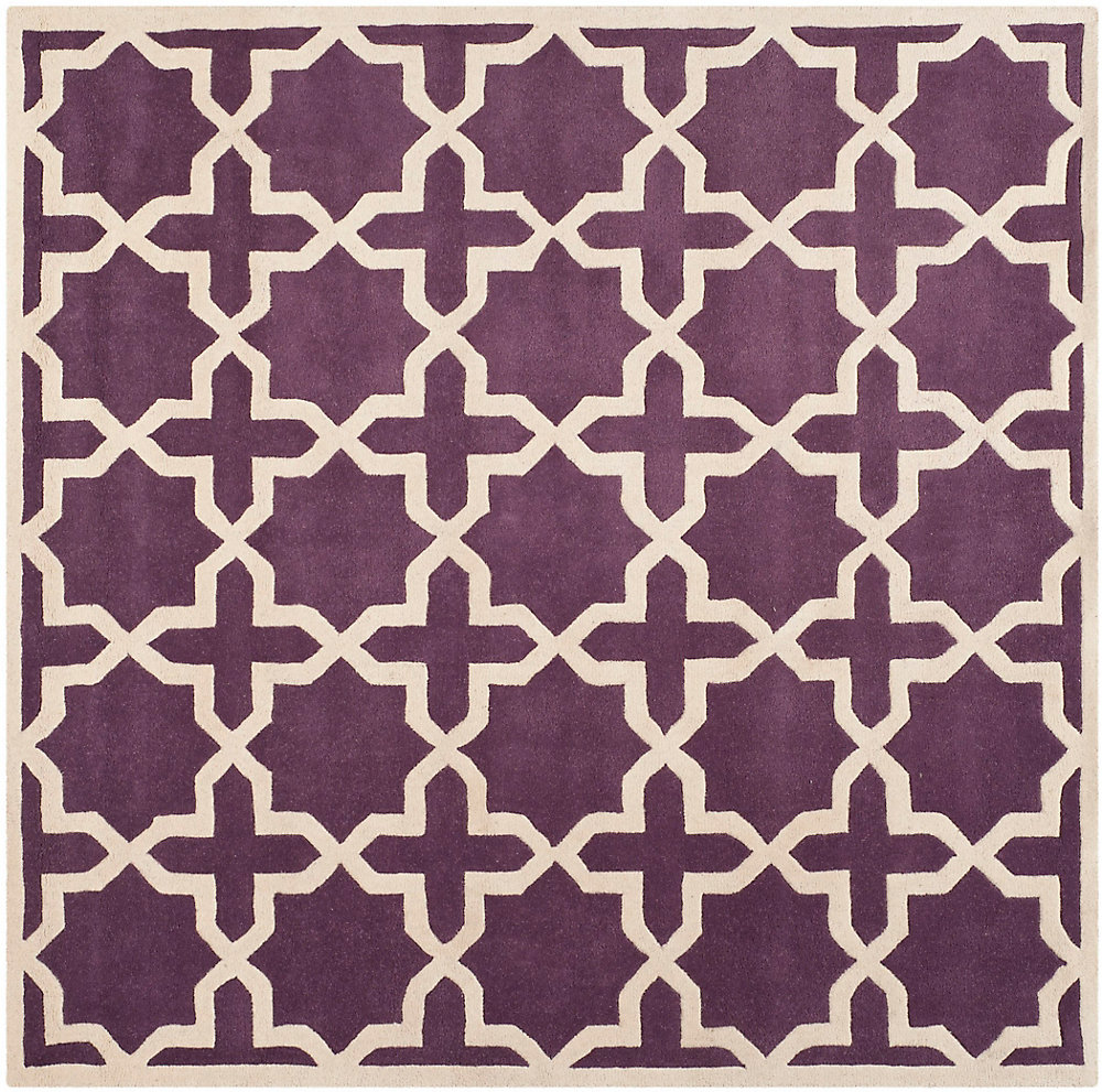 Chatham Carlton Purple / Ivory 7 ft. x 7 ft. Indoor Square Area Rug