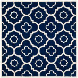Safavieh Chatham Dedrick Dark Blue / Ivory 7 ft. x 7 ft. Indoor Square Area Rug