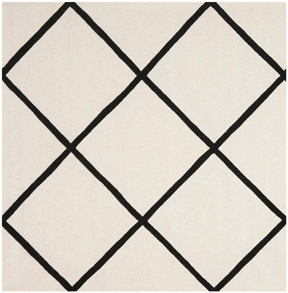 Chatham Peter Ivory / Black 7 ft. x 7 ft. Indoor Square Area Rug