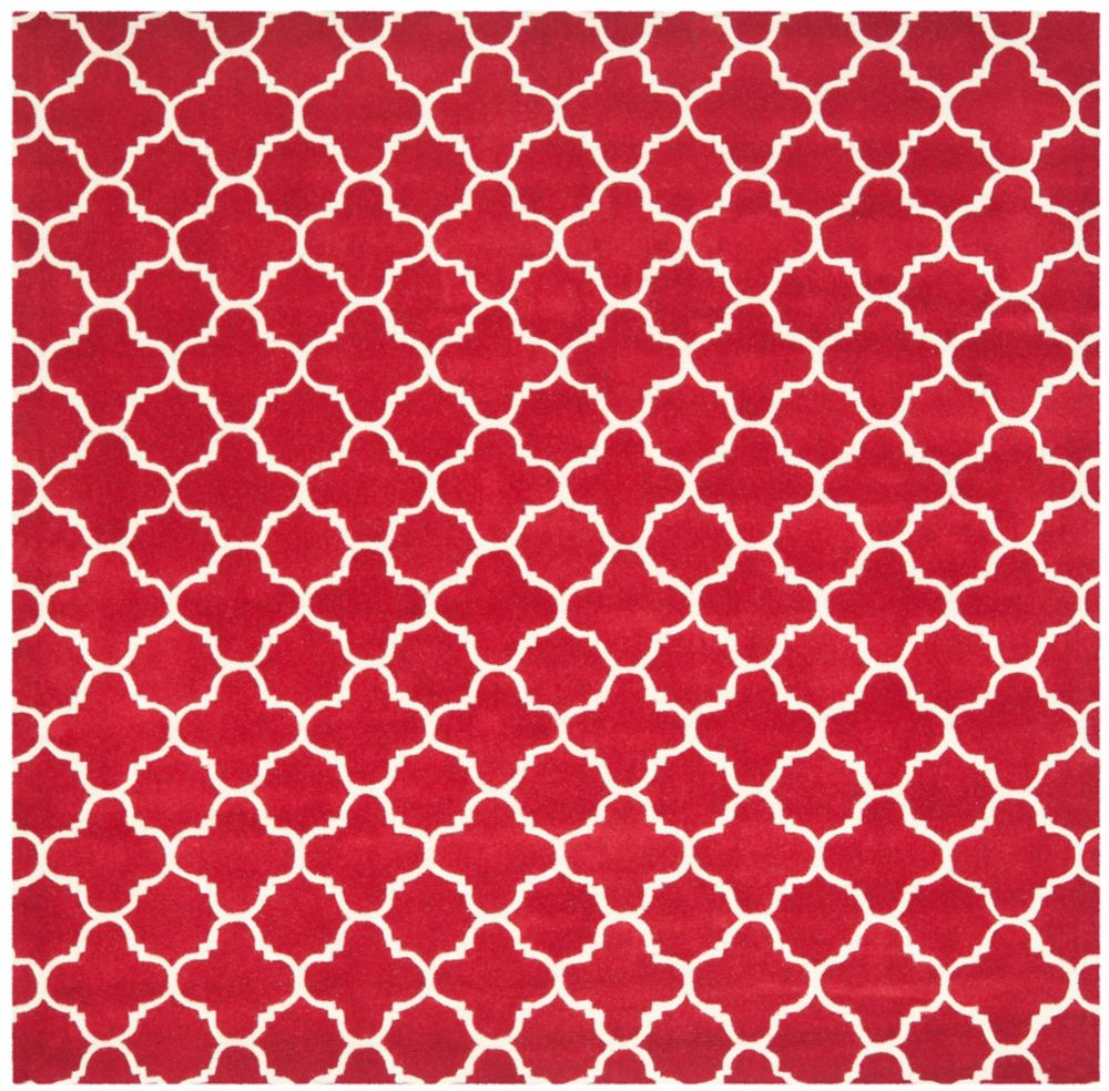 Safavieh Chatham Leslie Red / Ivory 8 ft. 9-inch x 8 ft. 9-inch Indoor Square Area Rug