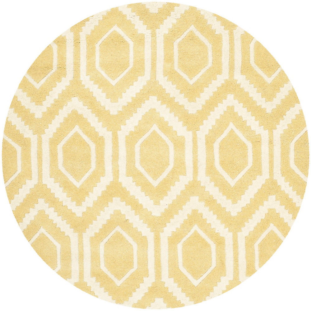 Chatham Beau Light Gold / Ivory 4 ft. x 4 ft. Indoor Round Area Rug