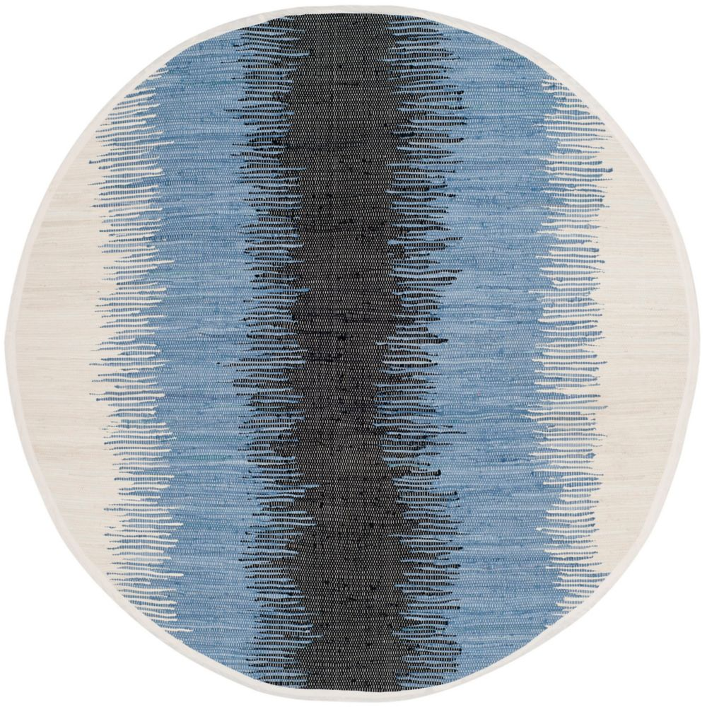 Safavieh Montauk Mort Grey / Black 4 ft. x 4 ft. Indoor Round Area Rug