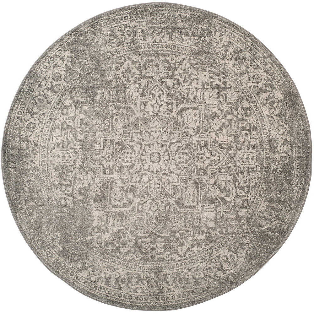 Evoke Eric Silver / Ivory 5 ft. 1-inch x 5 ft. 1-inch Indoor Round Area Rug