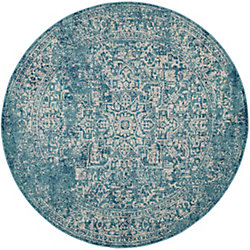 Safavieh Evoke Eric Blue / Ivory 5 ft. 1-inch x 5 ft. 1-inch Indoor Round Area Rug