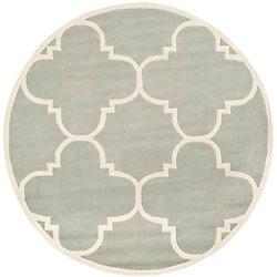 Safavieh Chatham Abe Grey / Ivory 5 ft. x 5 ft. Indoor Round Area Rug