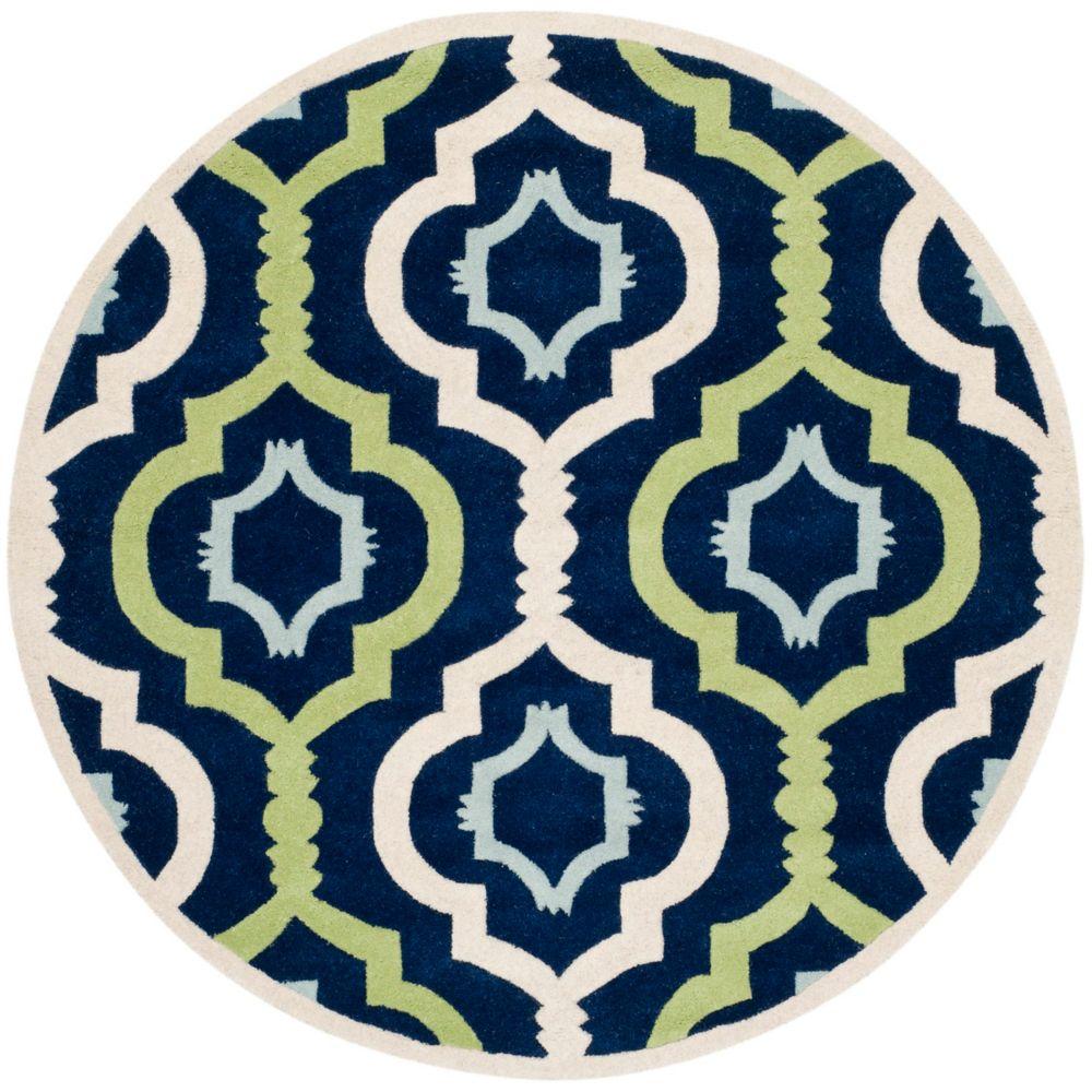 Safavieh Chatham Bree Dark Blue / Multi 5 ft. x 5 ft. Indoor Round Area Rug