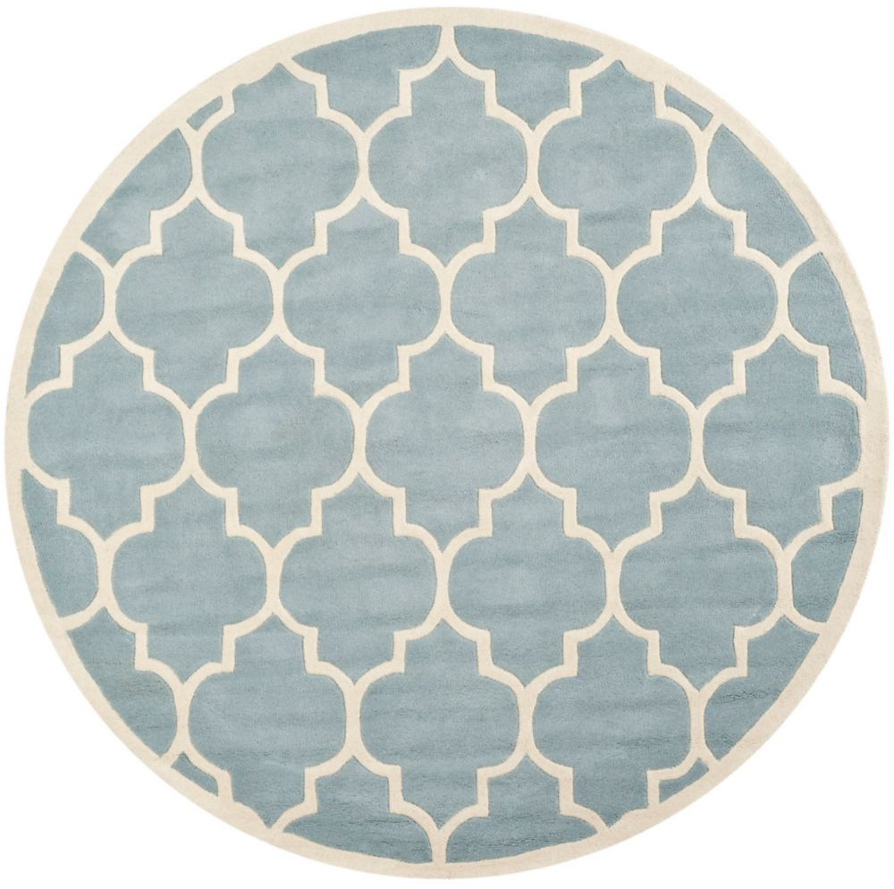 Safavieh Chatham Caprice Blue / Ivory 5 ft. x 5 ft. Indoor Round Area Rug