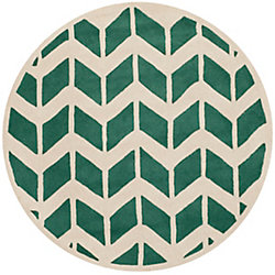 Safavieh Chatham Cecil Teal / Ivory 5 ft. x 5 ft. Indoor Round Area Rug