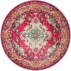Safavieh Monaco Moses Pink / Multi 5 ft. x 5 ft. Indoor Round Area Rug