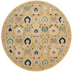 Safavieh Evoke Harris Gold / Ivory 6 ft. 7-inch x 6 ft. 7-inch Indoor Round Area Rug