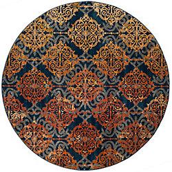 Safavieh Evoke Jack Blue / Orange 6 ft. 7-inch x 6 ft. 7-inch Indoor Round Area Rug