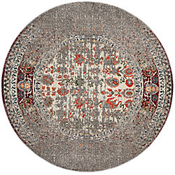Safavieh Monaco Flynn Grey / Ivory 6 ft. 7-inch x 6 ft. 7-inch Indoor Round Area Rug