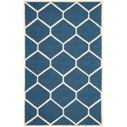 Safavieh Tapis d'intérieur, 6 pi x 9 pi, Cambridge Ebenezer, marin bleu / ivoire