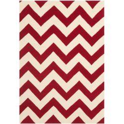 Safavieh Tapis d'intérieur, 6 pi x 9 pi, Chatham Lara, rouge / ivoire