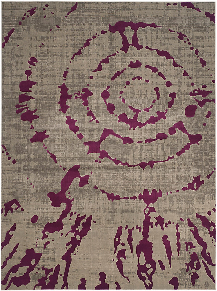 Tapis d\'intérieur, 8 pi 2 po x 11 pi, Porcello Sarah, gris clair / violet