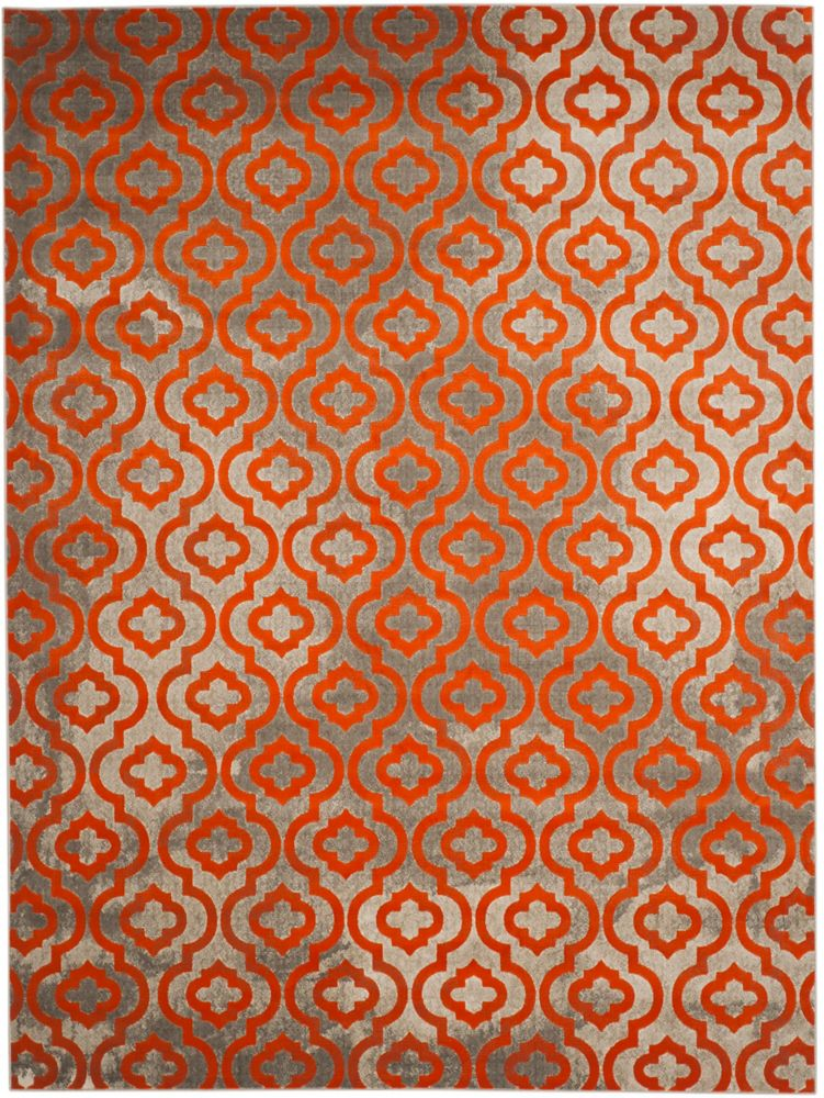 Safavieh Porcello Vincent Light Grey / Orange 8 ft. 2-inch x 11 ft. Indoor Area Rug