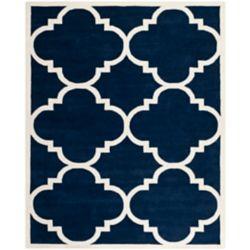 Safavieh Tapis d'intérieur, 8 pi x 10 pi, Chatham Abe, bleu foncé / ivoire