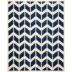 Safavieh Tapis d'intérieur, 8 pi x 10 pi, Chatham Cecil, bleu foncé / ivoire