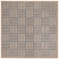 Safavieh Tapis d'intérieur/extérieur carré, 6 pi 7 po x 6 pi 7 po, Cottage Antoine, bleu clair / beige