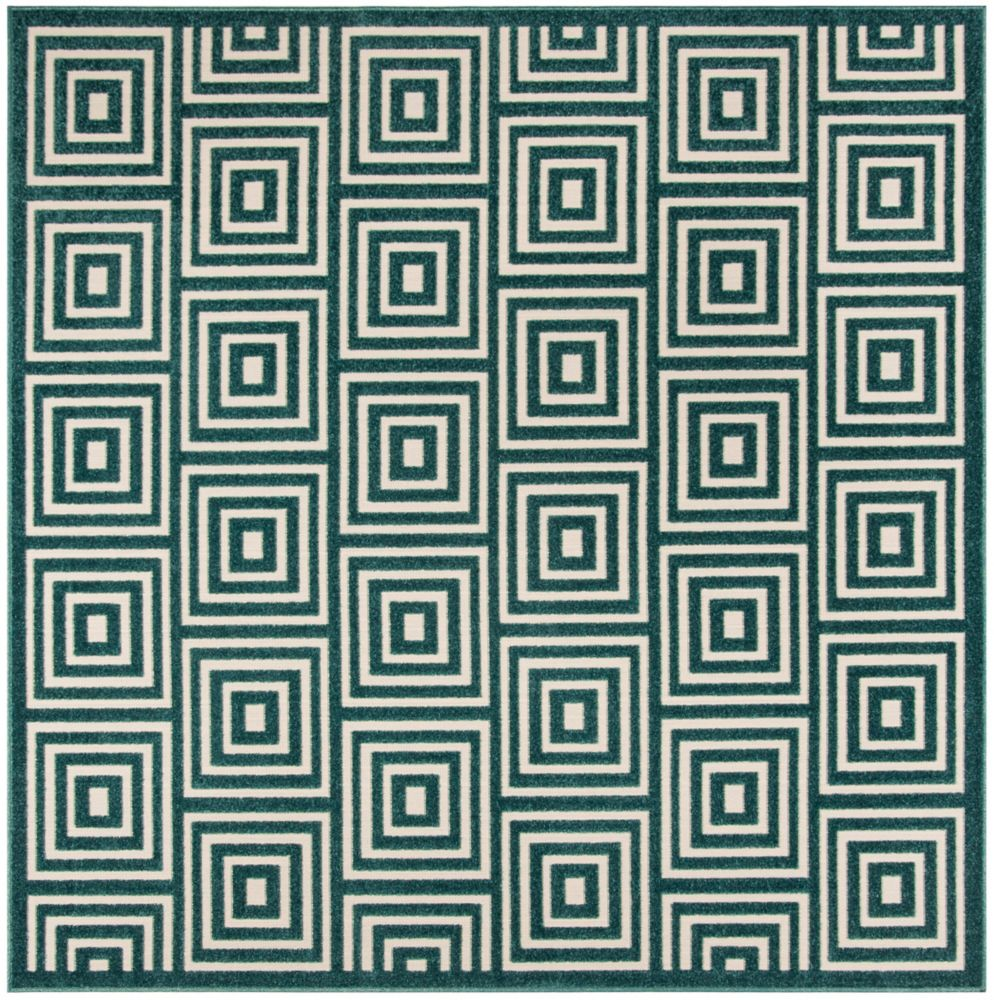Safavieh Cottage Layton Cream / Turquoise 6 ft. 7-inch x 6 ft. 7-inch Indoor/Outdoor Square Area Rug