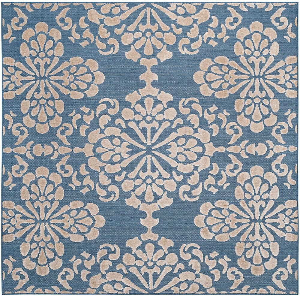 Tapis d'intérieur/extérieur carré, 6 pi 7 po x 6 pi 7 po, Cottage Norman, bleu clair / beige