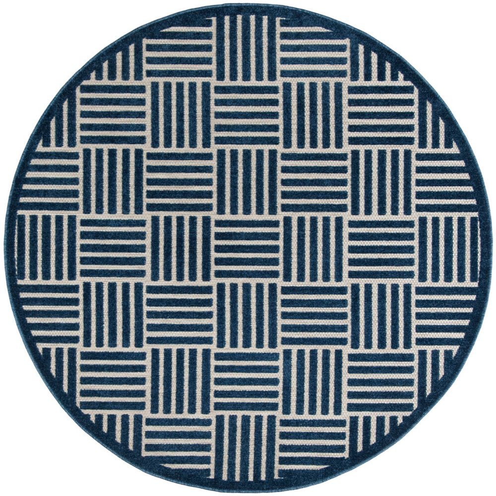 Safavieh Cottage Antoine Blue / Grey 6 ft. 7-inch x 6 ft. 7-inch Indoor/Outdoor Round Area Rug