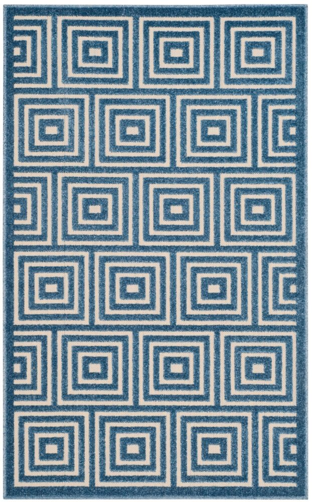 Safavieh Cottage Layton Cream / Light Blue 3 ft. 3-inch x 5 ft. 3-inch Indoor/Outdoor Area Rug