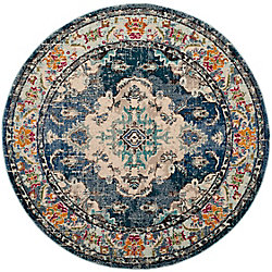 Safavieh Monaco Moses Navy / Light Blue 6 ft. 7-inch x 6 ft. 7-inch Indoor Round Area Rug