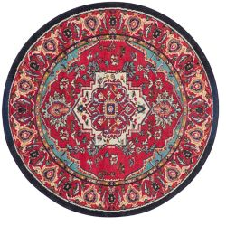 Safavieh Tapis d'intérieur rond, 6 pi 7 po x 6 pi 7 po, Monaco Ngiem, rouge / turquoise