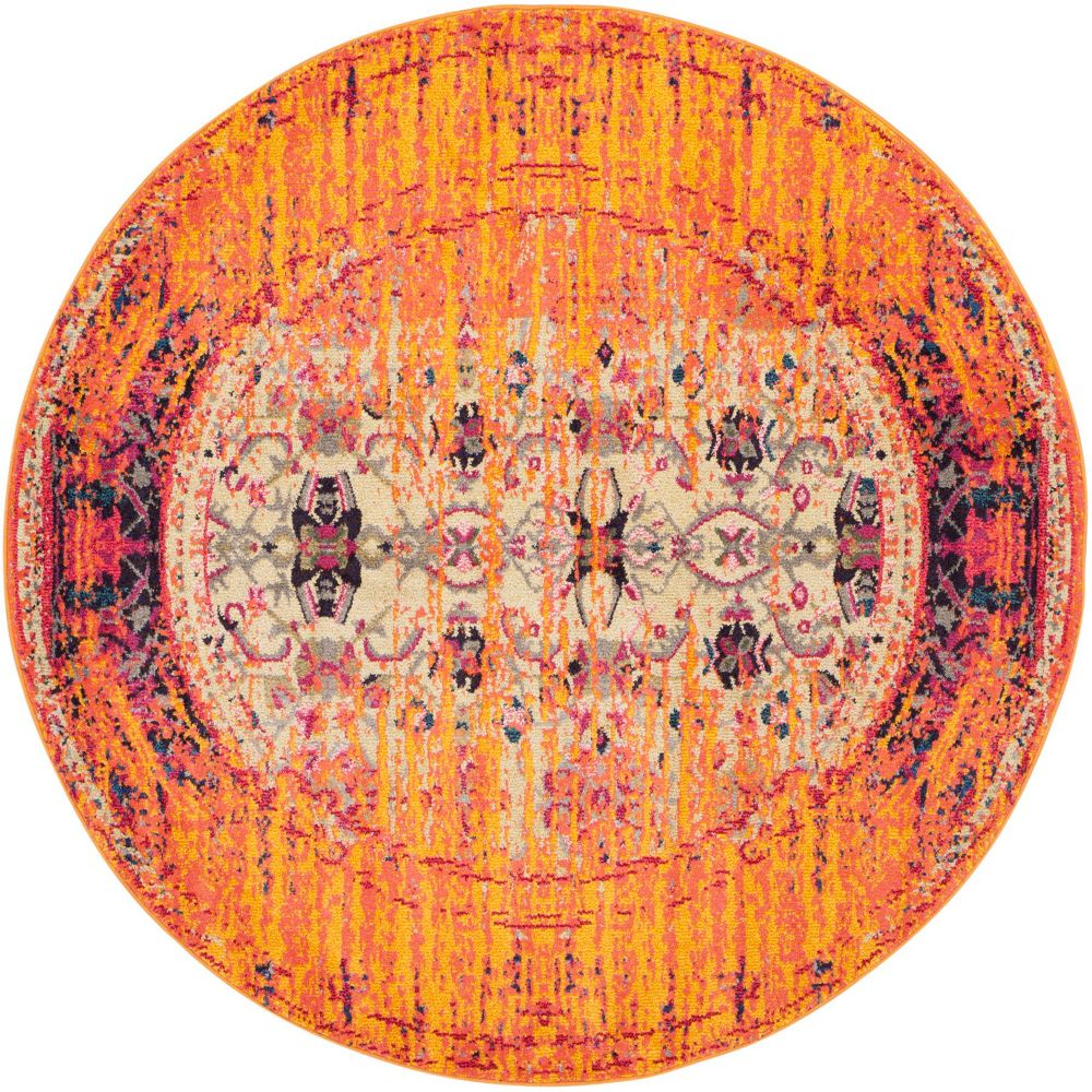 Safavieh Monaco Phil Orange / Multi 6 ft. 7-inch x 6 ft. 7-inch Indoor Round Area Rug