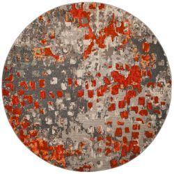 Safavieh Monaco Zoey Grey / Orange 6 ft. 7-inch x 6 ft. 7-inch Indoor Round Area Rug