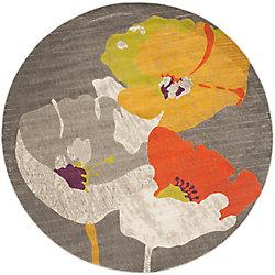 Safavieh Porcello Ming Dark Grey / Ivory 6 ft. 7-inch x 6 ft. 7-inch Indoor Round Area Rug