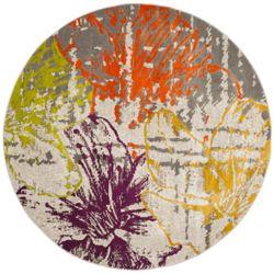 Safavieh Tapis d'intérieur rond, 6 pi 7 po x 6 pi 7 po, Porcello Minh, ivoire / gris