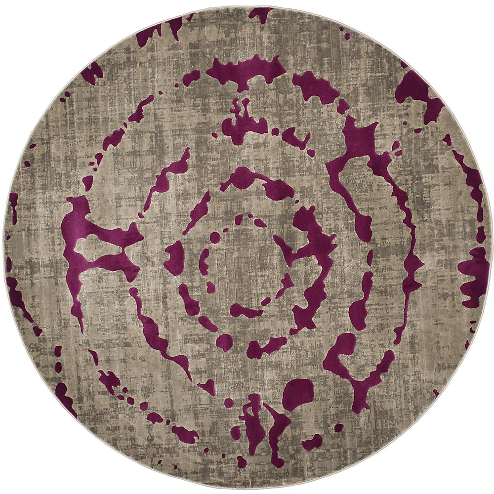 Porcello Sarah Light Grey / Purple 6 ft. 7-inch x 6 ft. 7-inch Indoor Round Area Rug