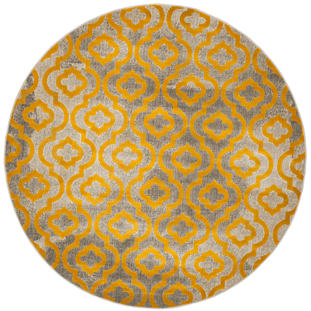 Porcello Vincent Light Grey / Yellow 6 ft. 7-inch x 6 ft. 7-inch Indoor Round Area Rug