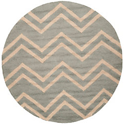 Safavieh Cambridge Trip Grey / Beige 6 ft. x 6 ft. Indoor Round Area Rug
