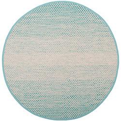 Safavieh Montauk Aimee Turquoise / Ivory 6 ft. x 6 ft. Indoor Round Area Rug
