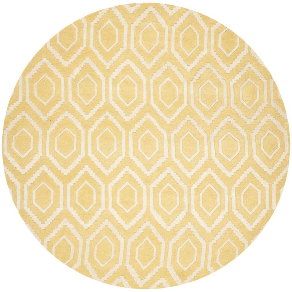 Safavieh Chatham Beau Light Gold / Ivory 7 ft. x 7 ft. Indoor Round Area Rug