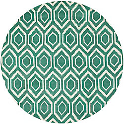 Safavieh Chatham Beau Teal / Ivory 7 ft. x 7 ft. Indoor Round Area Rug