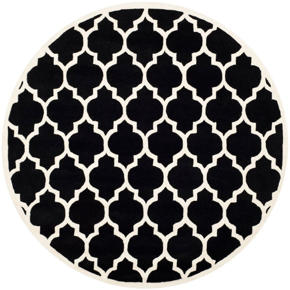 Safavieh Chatham Candace Black / Ivory 7 ft. x 7 ft. Indoor Round Area Rug
