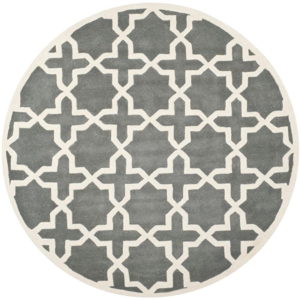 Safavieh Chatham Carlton Dark Grey / Ivory 7 ft. x 7 ft. Indoor Round Area Rug