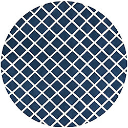Safavieh Chatham Lily Dark Blue / Ivory 7 ft. x 7 ft. Indoor Round Area Rug
