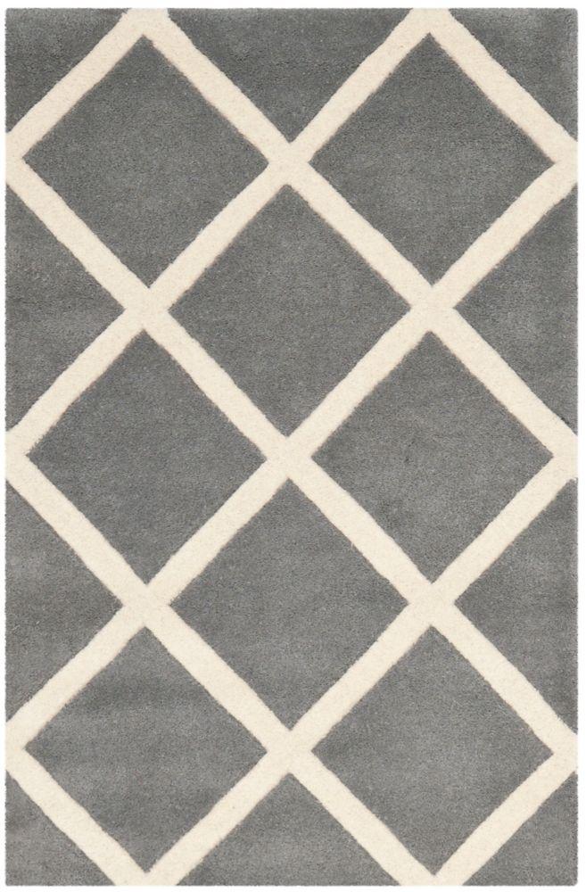 Safavieh Chatham Peter Dark Grey / Ivory 2 ft. x 3 ft. Indoor Area Rug