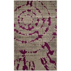 Safavieh Porcello Sarah Light Grey / Purple 3 ft. x 5 ft. Indoor Area Rug