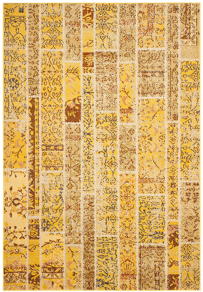 Monaco Vivian Yellow / Multi 4 ft  x 5 ft  7-inch Indoor Area Rug
