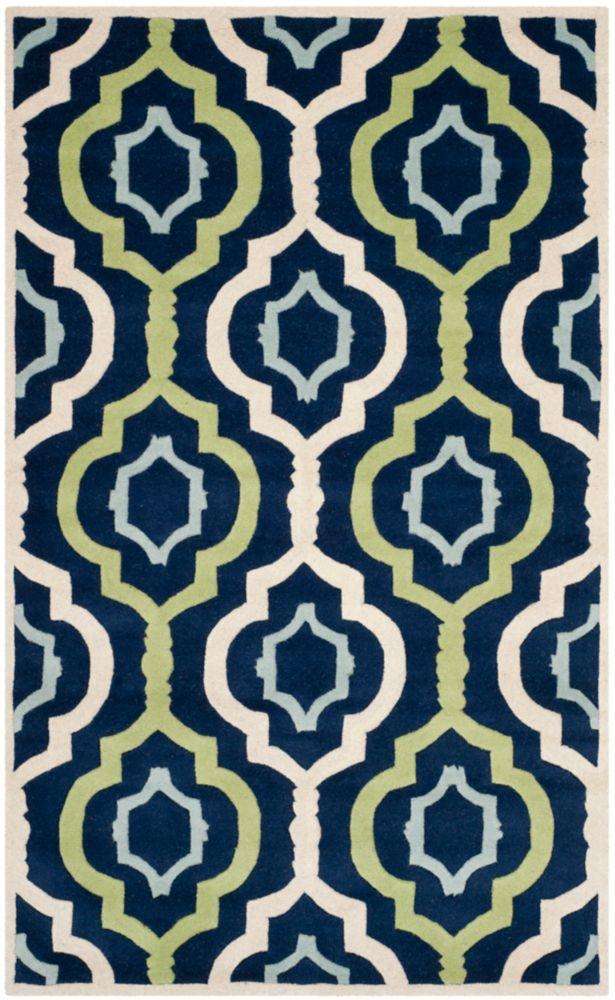 Safavieh Tapis d'intérieur, 4 pi x 6 pi, Chatham Bree, bleu foncé / multi