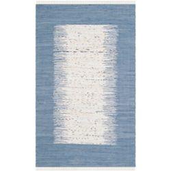 Safavieh Tapis d'intérieur, 4 pi x 6 pi, Montauk Delroy, ivoire / bleu foncé