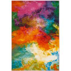 Safavieh Tapis d'intérieur, 4 pi x 6 pi, Watercolor Gretchen, orange / vert
